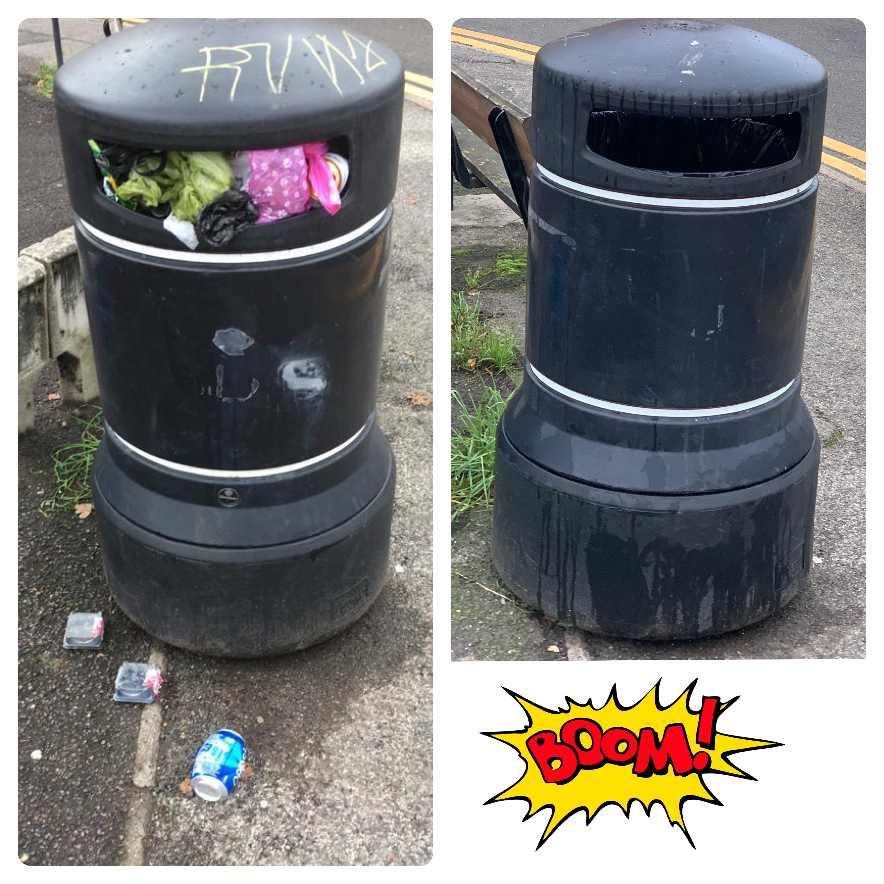 Rubbish bins in Hatch Lane