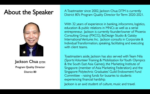 About the Speaker Jackson Chua DTM