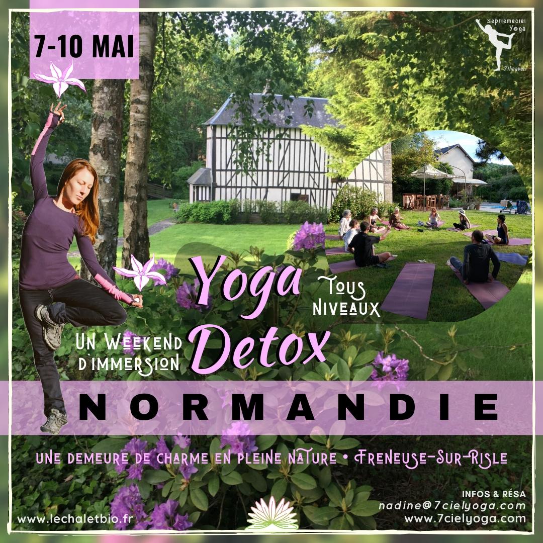 Retraite YOGA DETOX au printemps en NORMANDIE avec Nadine vers Freneuse-Sur-Risle • du 7 au 10 MAI