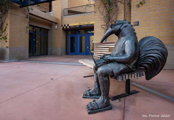 Bronze statue of Peter the Anteater working on a laptop