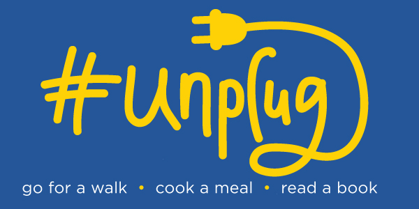 National Unplug Day is March 5 and 6. Graphic shows unplugged plug.