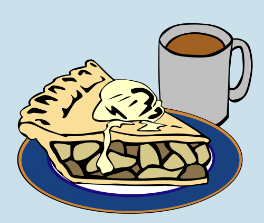 Graphic of piece of pie with coffee mug