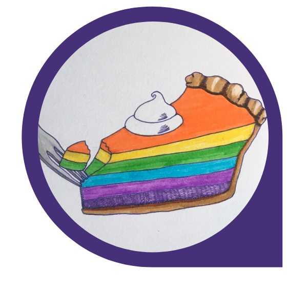 Drawing of rainbow slice of pie