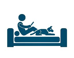 Icon drawing of person in bed on computer with dog