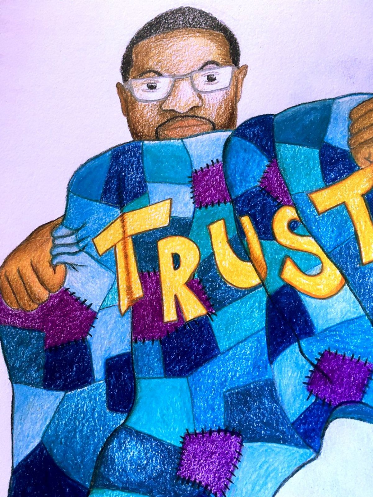 Drawing of Jason Bell with a quilt and word trust