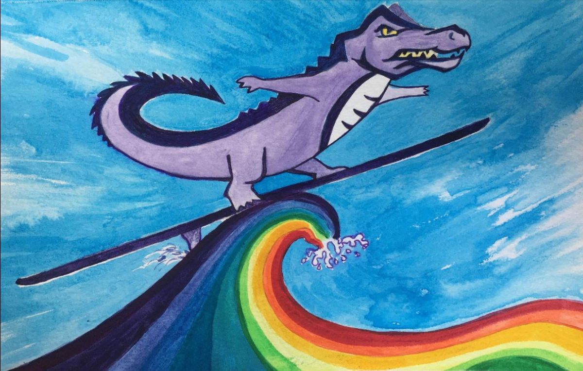 Drawing of SF State gator riding a rainbow wave.