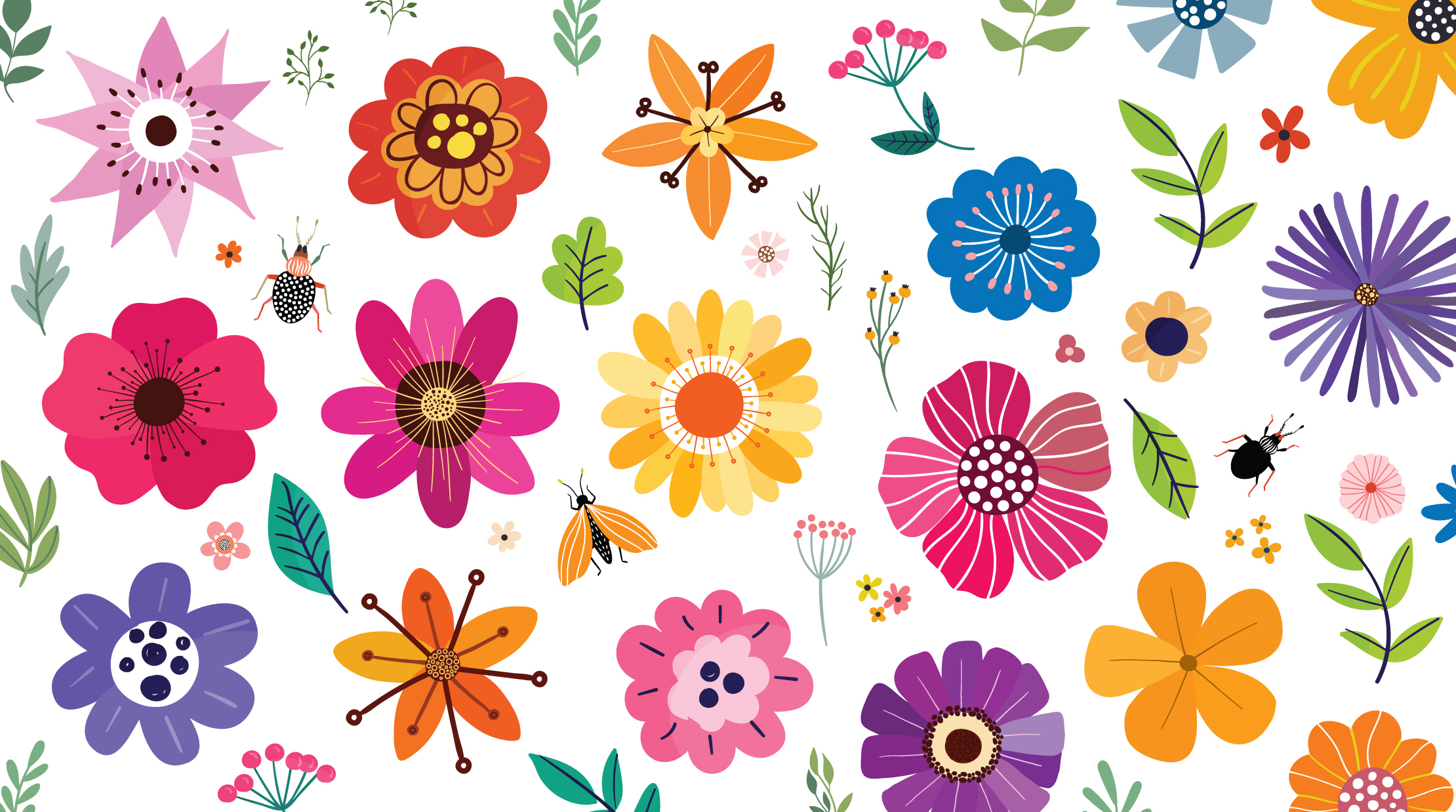 A collection of flowers, leafs, and insects.