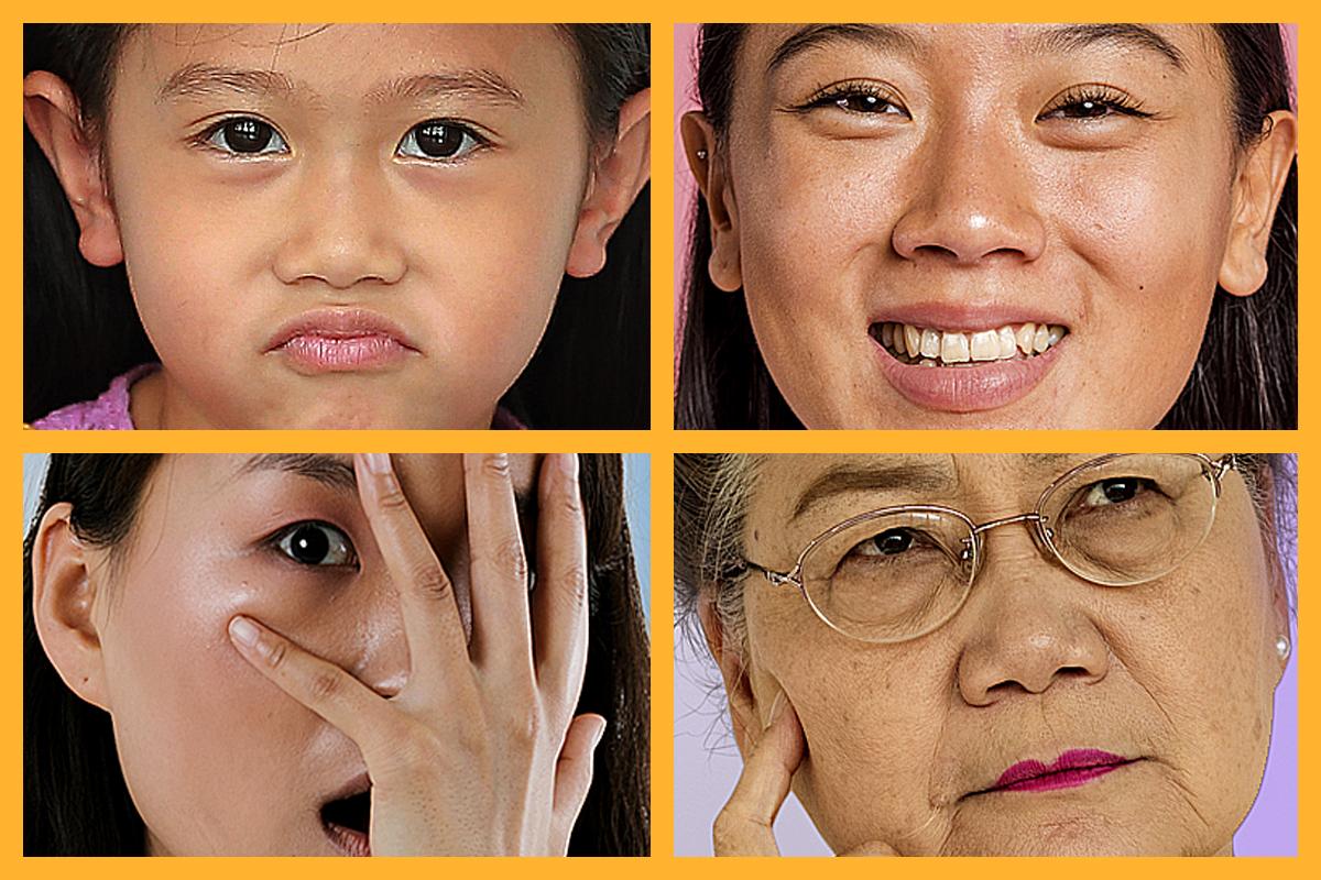 Quatre personnes affichant diverses expressions, de la réticence à la joie.