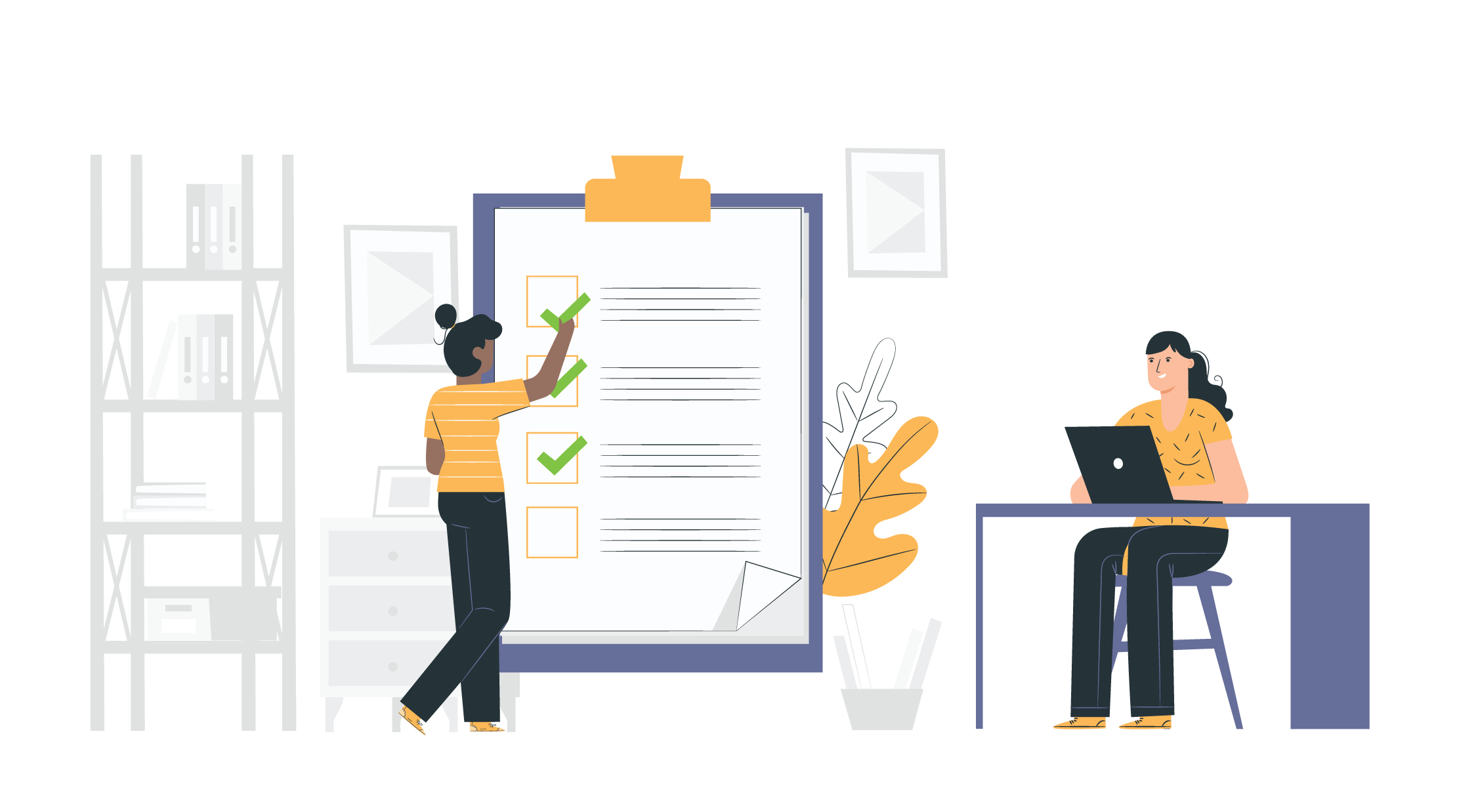 Illustration of two people referencing a product evaluation to check if their service is on the right track.