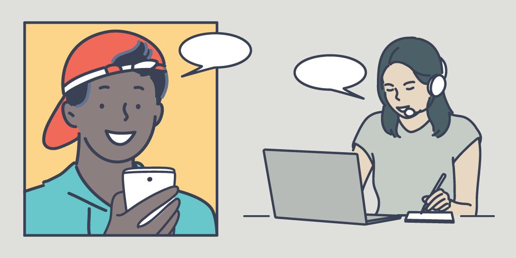 Illustration d'une personne faisant part de ses commentaires sur une application mobile à une autre personne lors d'un appel vidéo.