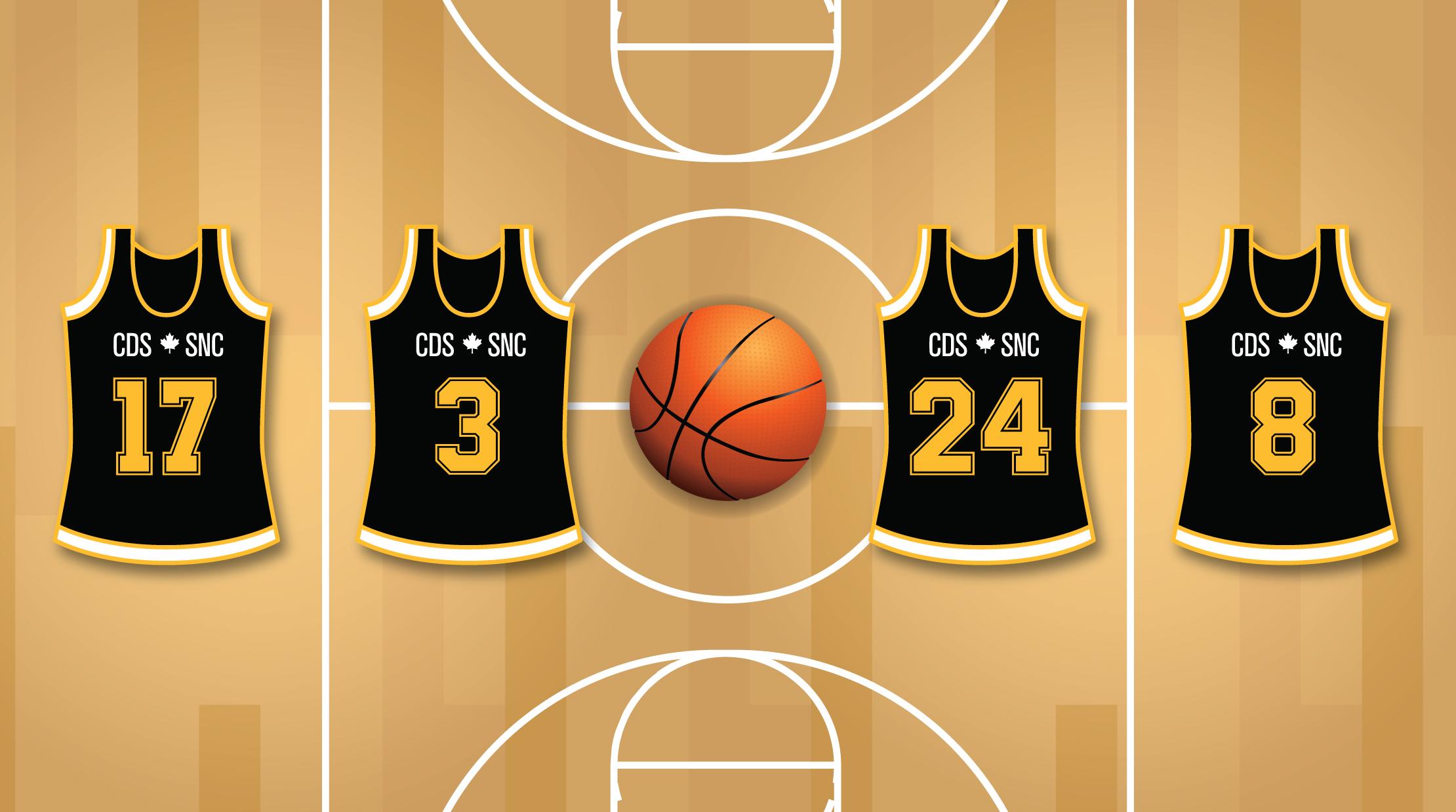 Un terrain de basketball avec un ballon et quatre dossards à l'effigie du SNC.