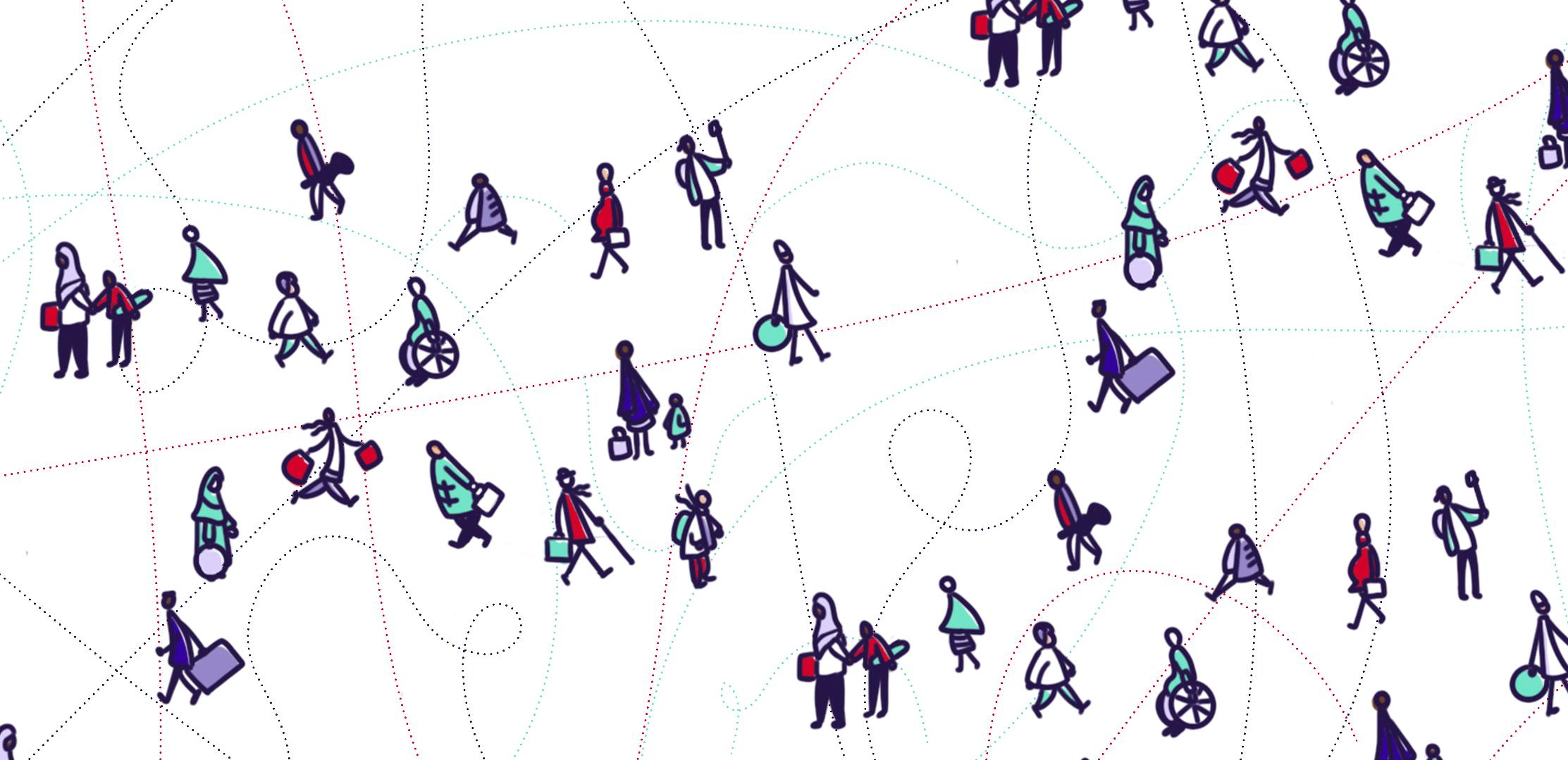 Des personnes dessinées en bonhommes allumettes, se promenant et portant divers types de vêtements de différentes couleurs.