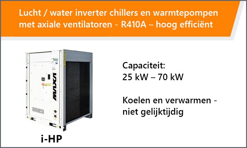 Lucht / water inverter chillers en warmtepompen met axiale ventilatoren - R410A – hoog efficiënt