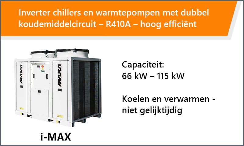 Inverter chillers en warmtepompen met dubbel koudemiddelcircuit – R410A – hoog efficiënt