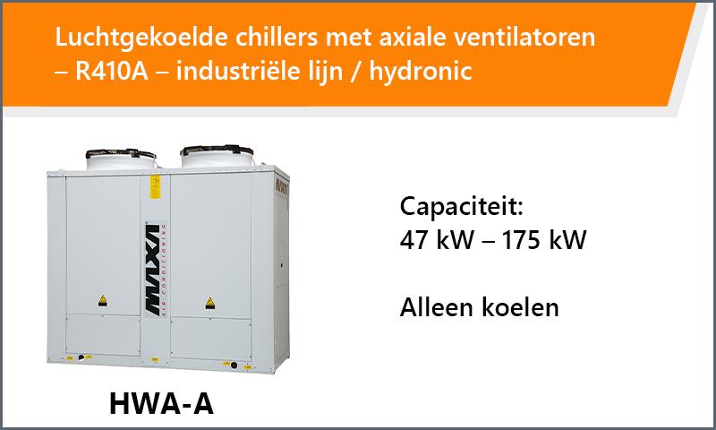 Luchtgekoelde chillers met axiale ventilatoren – R410A – industriële lijn / hydronic
