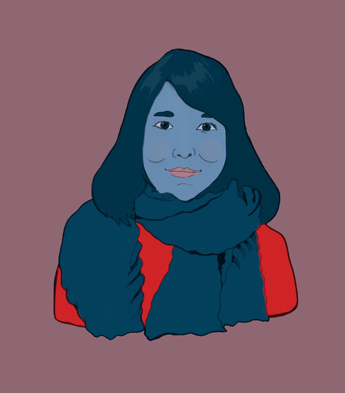 Illustration of Yan Ge bySoraya Gilanni Viljoen. She has shoulder length dark hair, is smiling, and is wearing a navy blue scarf and a red jumper.