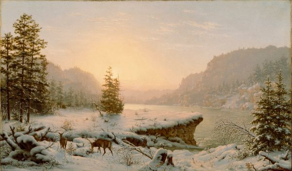 A painted winter landscape shows two deer beside a wide river