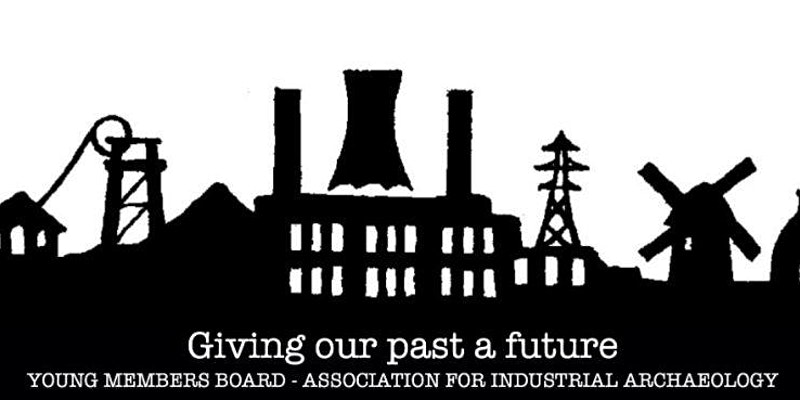 Black and white logo industrial buildings in silhouette behind text 'giving our past a future, young members board association for industrial archaeology'