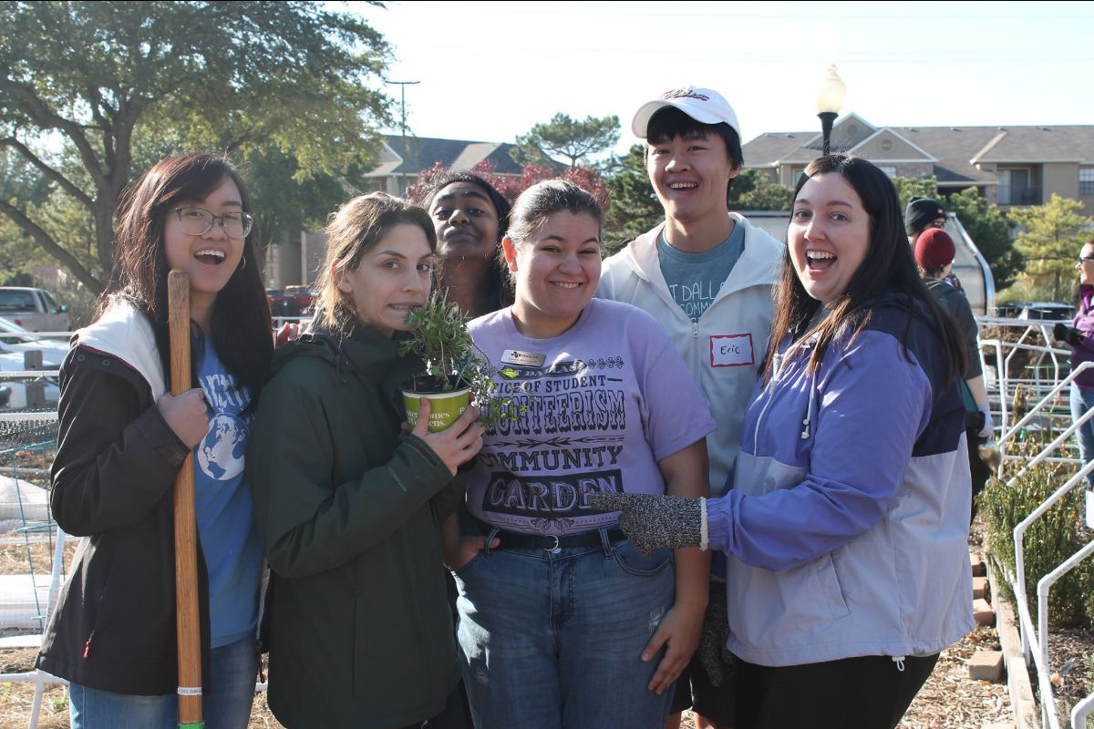 Students at a community garden