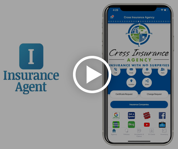 Video play icon on top of iPhone X with home screen of Insurance Agent app displayed.