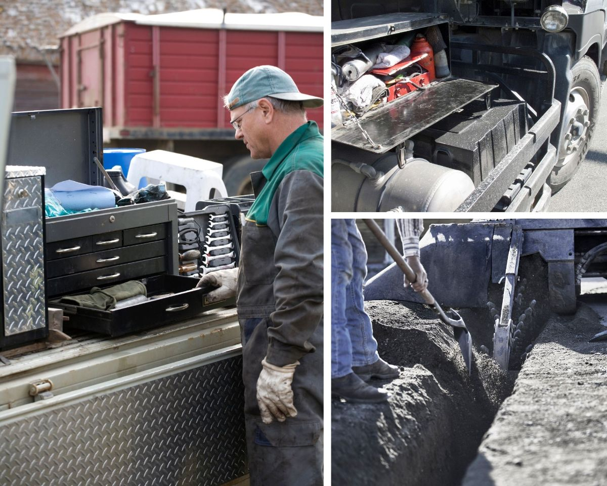 Collage of 3 images. One of contractor looking in toolbox on the back of a truck. Second is a side mounted tool box with lid open. Third is of a trenching machine with long trench dug, along with a person shoveling dirt behind trencher.