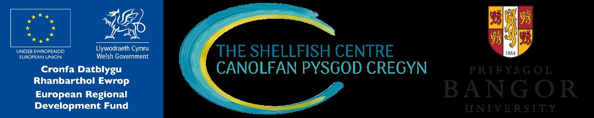 ERDF logo; Shellfish Centre logo; Bangor Univeristy logo