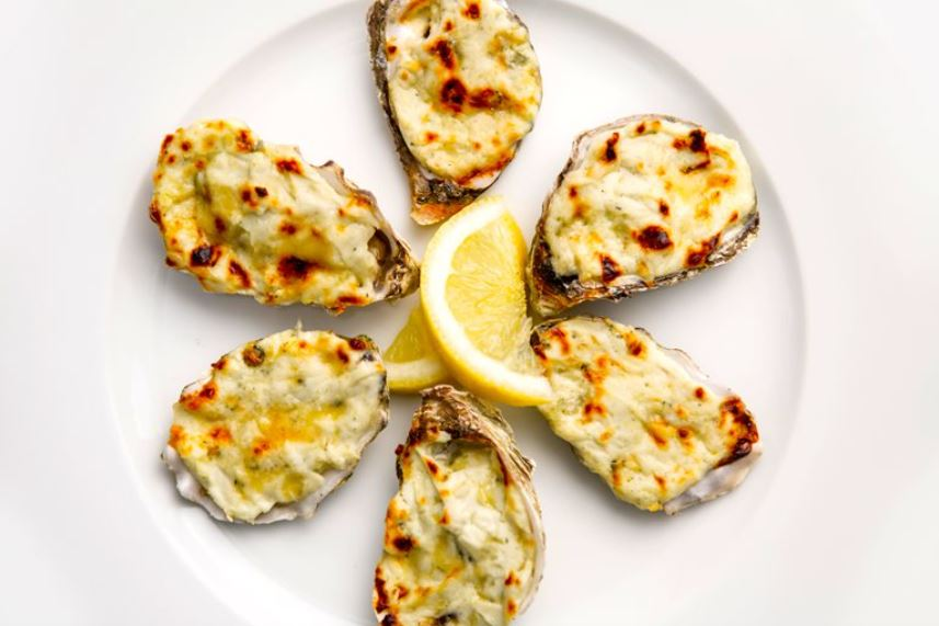 Oysters with laverbread and stilton