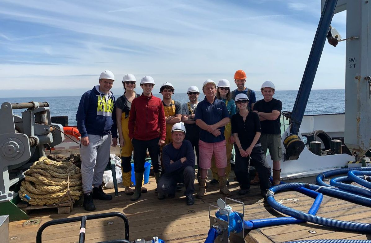 Shellfish Centre staff and crew working aboard the Prince Madog