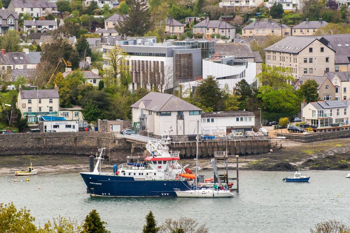 Prince Madog research vessel moored with Marine Centre Wales in the background