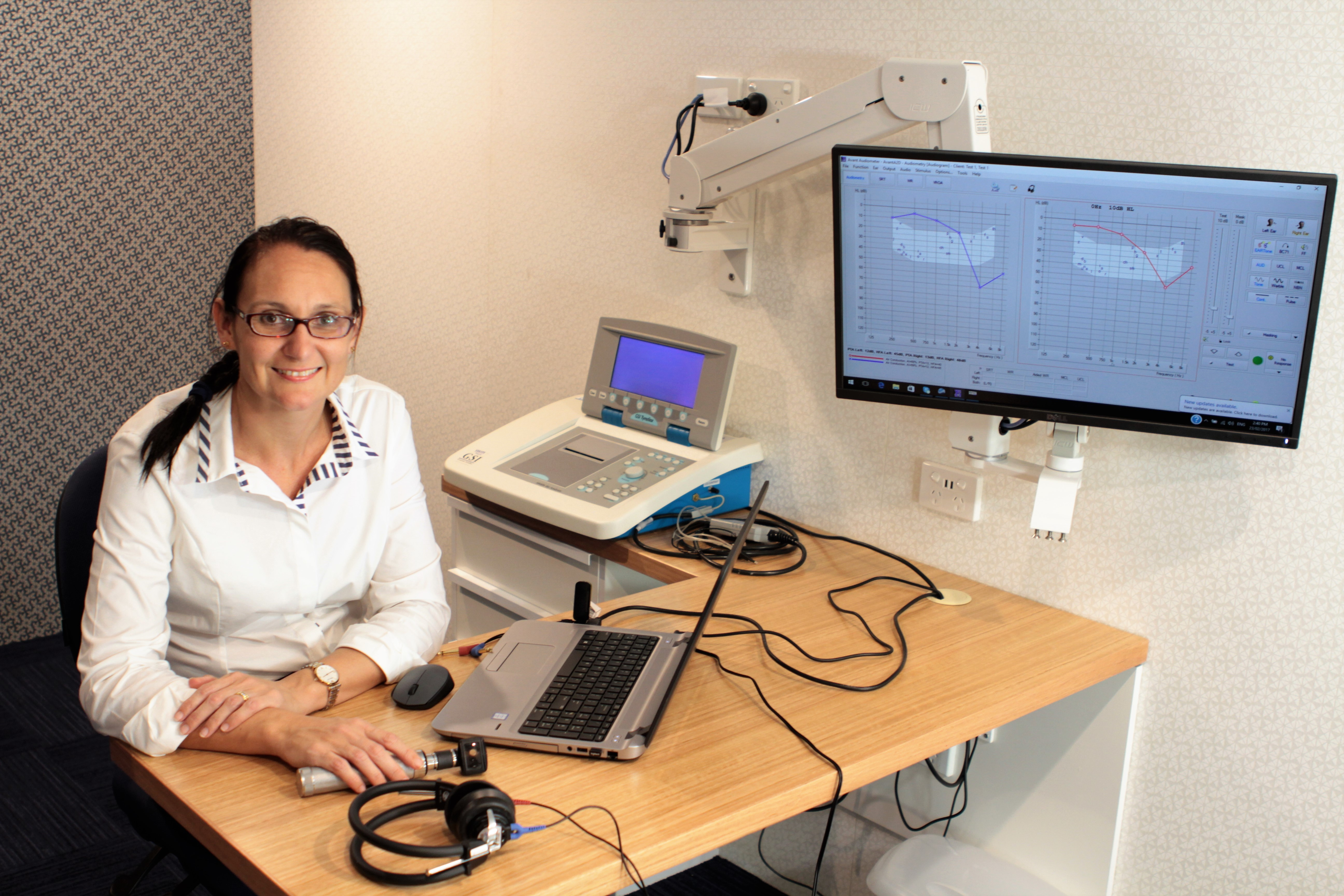 Dr Teagan Keogh in a Hear Check testing booth