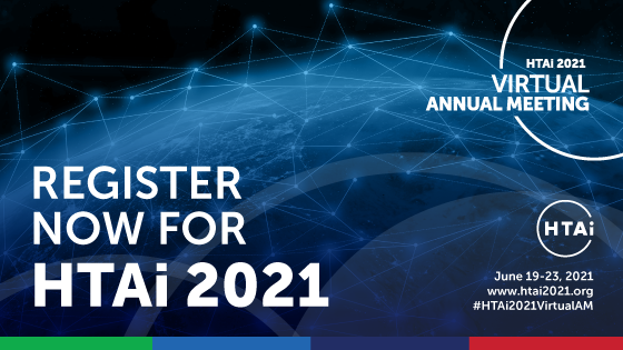 Branded generic graphic with the details of the HTAi 2021 virtual meeting