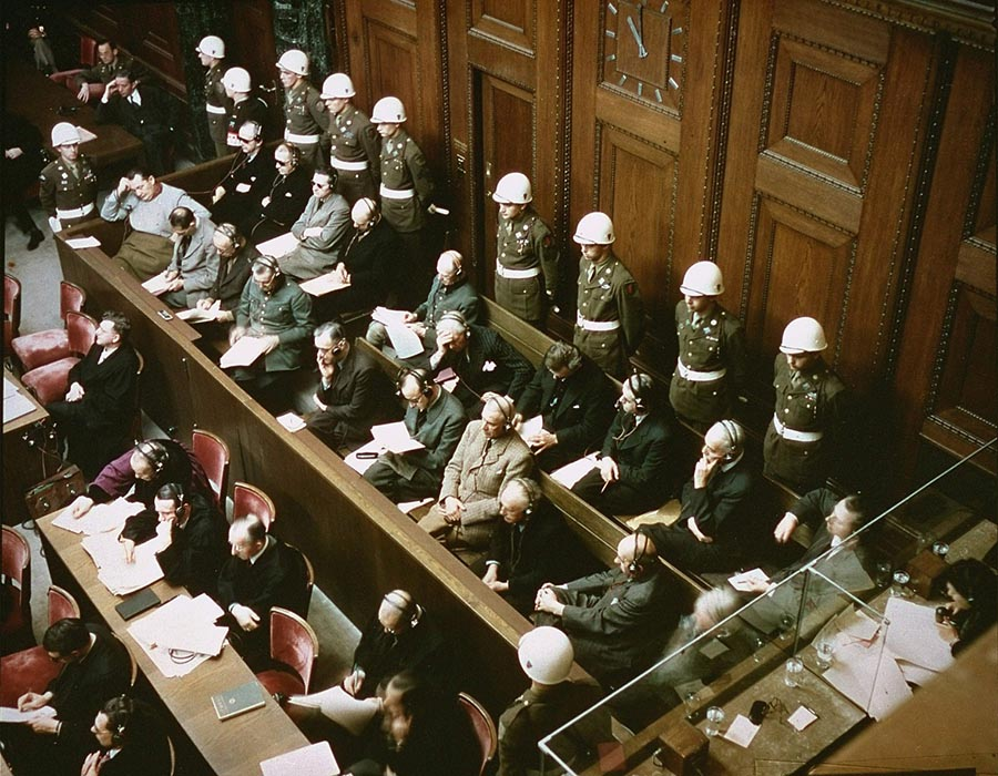 """The defendants' benches, with the """"aquarium"""" partially visible in the bottom right corner(Photo: National Archives)"""
