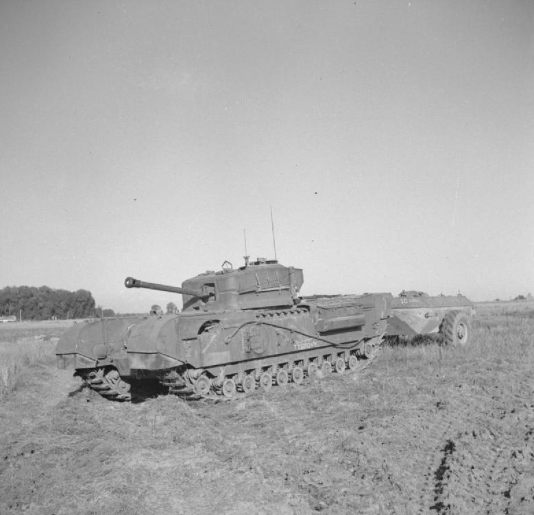 A Churchill Crocodile flamethrower tank towing its trailer(Photo: IWM)