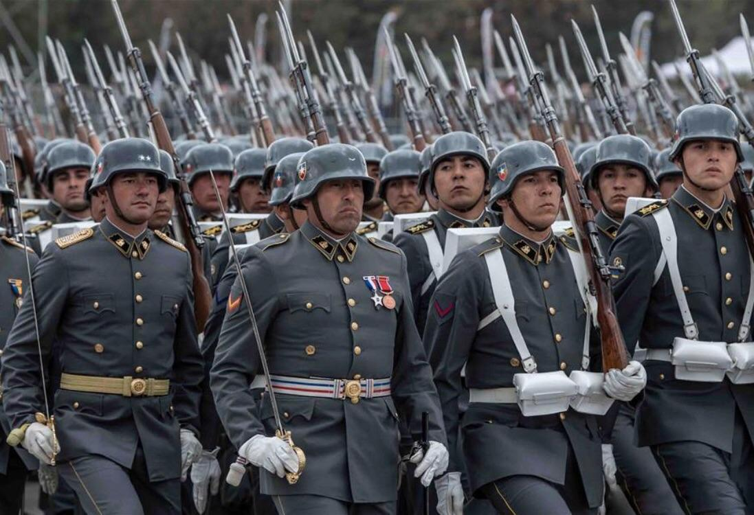 Chilean soldiers wearing Stahlhelm at a military parade in 2017(Photo: Xinhua/Jorge Villegas)