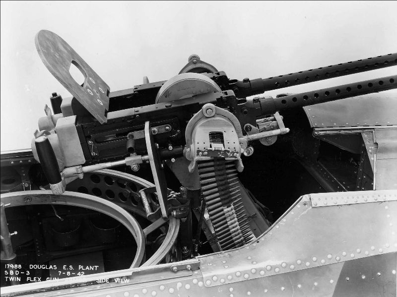 Twin AN/M2s in the rear-facing turret of a Douglas SBD-3 Dauntless(Photo: U.S. Navy National Museum of Naval Aviation)