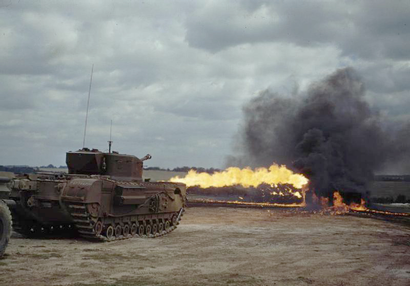 A Churchill Crocodile flamethrower tank in action(Photo: IWM)