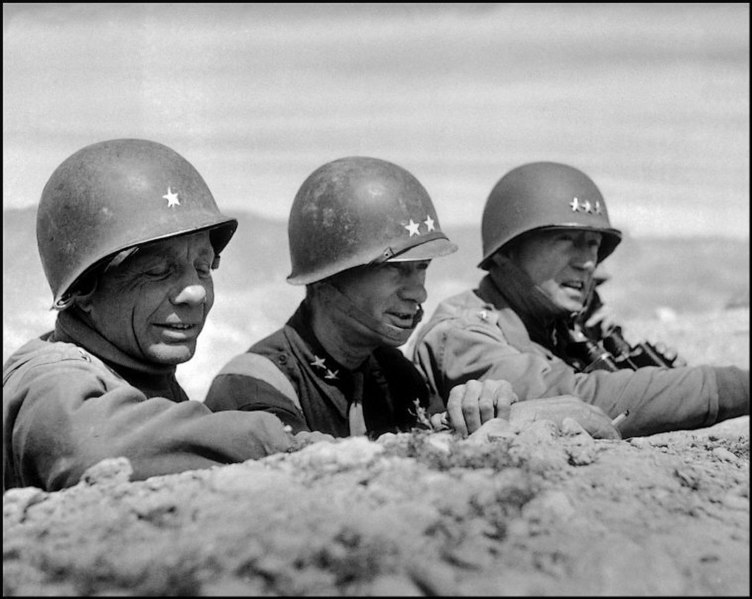 Left to right: Theodore Roosevelt Jr., Terry Allen and Patton at El Guettar(Photo: Robert Capa)
