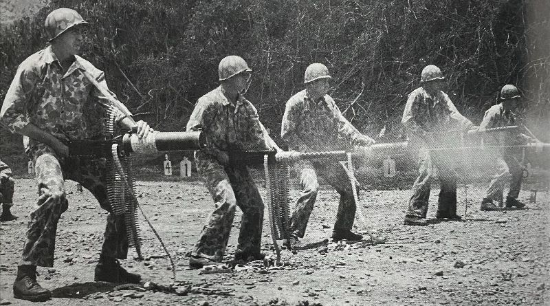 U.S. Marines training on how to fire M1917s and M1919s (arranged alternatingly) from the hip(Photo: U.S. military)