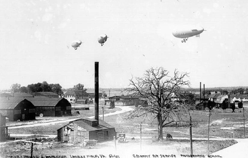 Airships over the main base at Langley Field, 1921(Photo: Joint Base Langley-Eustis)
