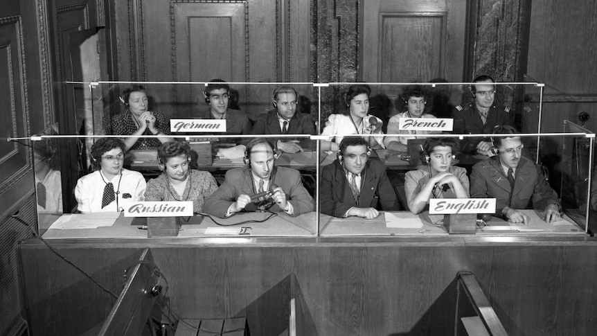 The interpreters' booth with the four languages of the Nuremberg Trials(Photo: Bettmann Archive)
