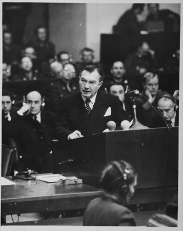 U.S. Chief Prosecutor Robert H. Jackson delivering the opening speech of the American prosecution at the International Military Tribunal in Nuremberg(Photo: United States Holocaust Memorial Museum)