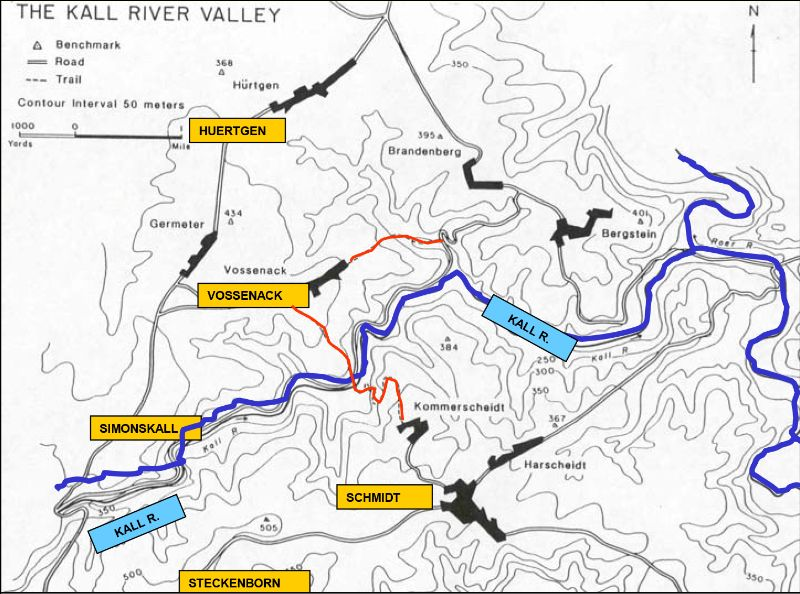 Layout of the general area. Blue: the Kall river, red: the Kall supply trail (Source: LTC (ret) Thomas G. Bradbeer)