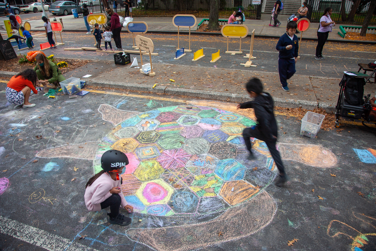 Chalk murals on NYC streets