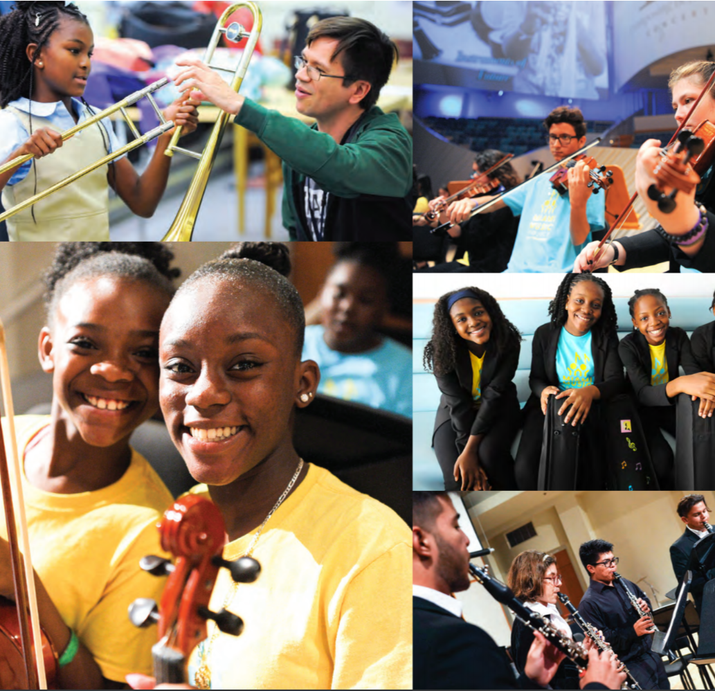 Collage of pictures of multiple children holding classical music instruments.