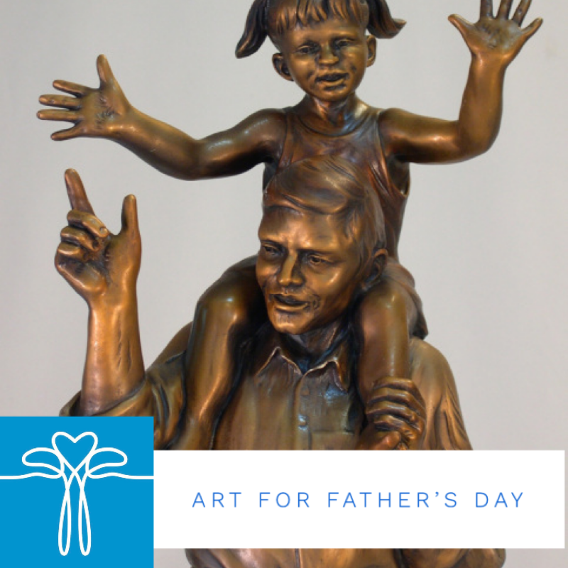 Artful gifts, perfect for dad! Paintings and Sculpture that show family, kids, father and child, connection with nature, maybe even depicts the man himself, strong, masculine, playful, serious. Dress up that office or man-cave with a memorable fine art piece.  The items listed in this section of our online store are in-stock, ready to ship for Father's Day.*     *Please order before June 15th, We'll do our best to quickly yet safely pack and ship your new family heirloom.