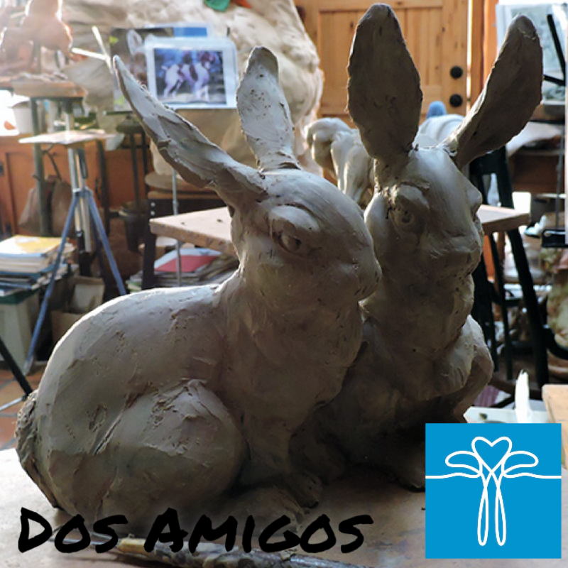 """A sweet new piece of two of our little Springtime buddies that I'm sure you're all seeing hopping about yards.    This artwork,shown here in clay can be pre-ordered from our special section on our online store. These are listed with introductory pricing, with a $400 savings! so, it's truly a great time to add this renowned wildlife artist to your collection, if you are able.    ORDERS ONLY: Sandy's foundry in Lander, WY is currently open at a reduced staff, so please expect 8-12 weeks for casting time from the time of your order. With your Sales Code """"PREORDER"""", shipping is free!    Thank you for #KeepingOurArtistsCreating #StaySafe #ArtAppreciatorsAreOurFavoritePeople"""