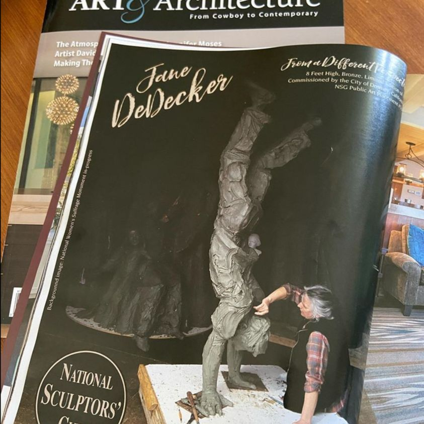 """Check out our ad in the latest @westernartandarchitecture we are featuring Jane DeDecker sculpting """"From a Different Perspective"""" which the National Sculptors' Guild will be placing in downtown Downey, California as soon as it is cast in bronze and we can safely install.  Commissioned by @cityofdowneyca the 8ft tall figure doing a handstand will be a fun addition to the city's growing public art collection that we are thrilled to be an integral part in starting.  Want one for your public art space or home garden or office lobby? The introductory price is available thru June... http://www.columbinegallery.com/store/p2048/From_a_Different_Perspective.html  #JaneDeDecker #FromADifferentPerspective #NationalSculptorsGuild #PublicArt #DowneyCA #Bronze #Sculpture #NSG #Contemporary #Figurative #ArtistDriven #ClientMinded #FeedYourCreativeSpirit"""