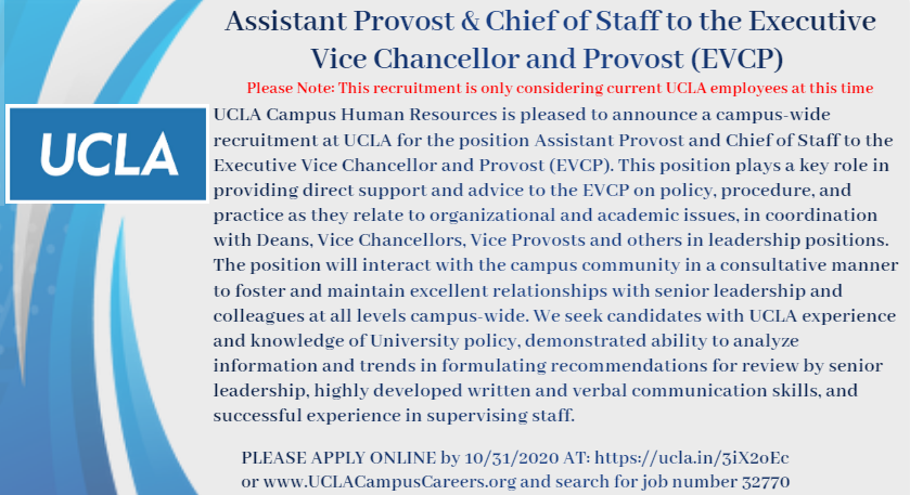 Assistant Provost & EVCP Job Posting