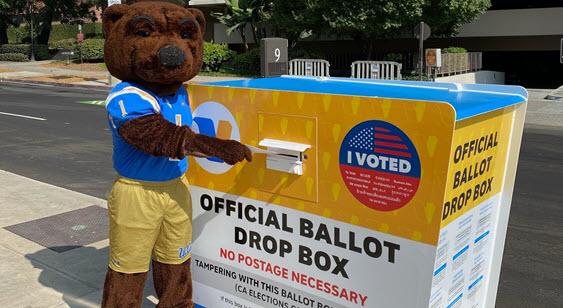 Joe Bruin dropping off ballot at drop box