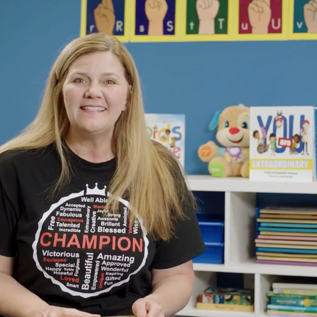 Picture of Samantha Johnson inside on of the Champions Club for Special Needs rooms